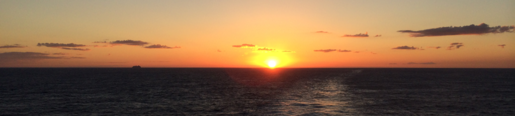 View of the sunset from a cruise ship